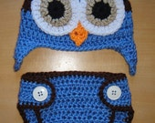 Newborn Baby Boy Crochet OWL Blue n Brown Diaper Cover -n- Beanie Hat Set -- Great Photo Prop