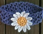 Little Girls Crochet LAVENDER Blue Headband w/ Crochet YELLOW n WHITE Daisy -- Made to Order -- Any Size