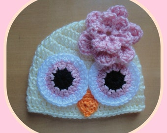 Baby Toddler Girl PINK & CREAM Crochet OWL Beanie Hat -- Sizes: Newborn to 10yrs -- Cute Photo Prop