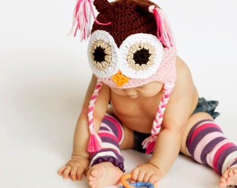 Girls Crochet PINK n Brown OWL Earflap Hat with Braids ~ Sizes: Newborn to Teen ~ Cute Photo Prop or Winter Hat