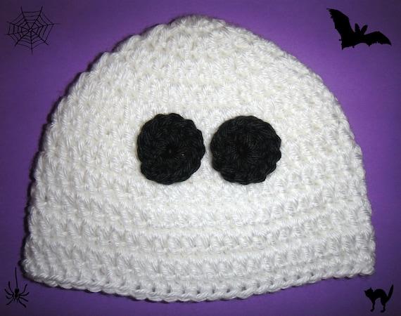 Baby Toddler Boy Girl WHITE Crochet GHOST Halloween Beanie HAT -- Sizes: Newborn to 5T -- Cute Photo Prop