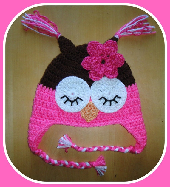 Baby Toddler Girl Crochet Bubblegum PINK Sleepy OWL Earflap Hat -- You Pick Size -- Sizes: 0-3 mos, 3-9 mos, 9-24 mos, 2-6 yrs -- Photo Prop