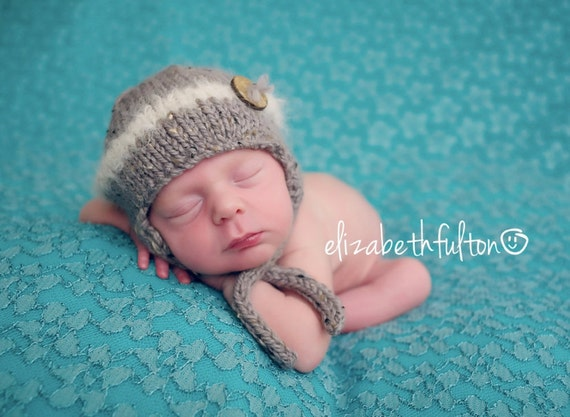 Little Boy Button Earflap Hat for Newborn - Adorable Photo Prop - Donegal Tweed and Suri Alpaca