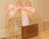 Ivory Shabby Chic Wedding  / Baby Shower Birdcage / Cardholder