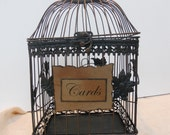 Vintage Inspired Rustic Black Copper Wedding Bird Cage card Holder Large