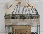 Wedding Card Box / Birdcage Card Holder / Rustic / Shabby / Burlap Ribbon / Heart Charm