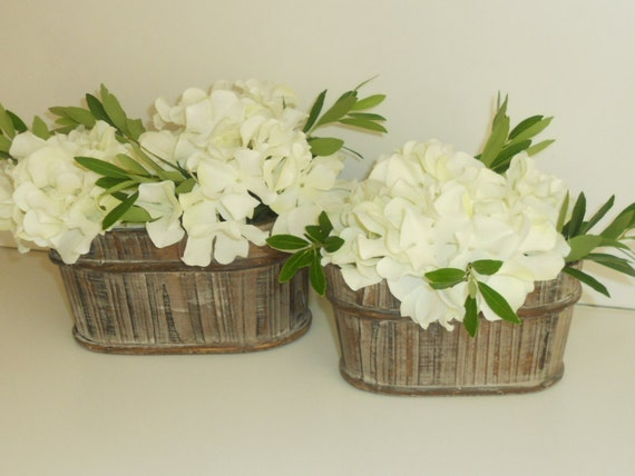 2 Oblong Whitewashed Wooden Pots/Planter/Floral Vase