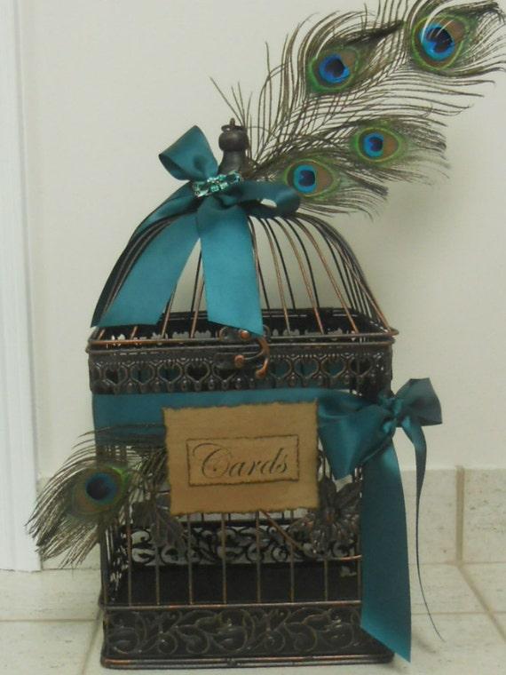 Wedding Birdcage / Card Box / Vintage style Wedding Birdcage / Cardholder Peacock Feathers