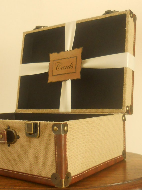 Wedding Card Box / Burlap Trunk / Vintage Style Card Holder Suitcase / Natural Woven Burlap / Travel Themed Wedding /  Programs Holder