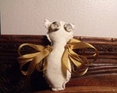 Woodland Animal Wishing Doll... mini good luck snowy and golden owl..christmas ornament..ooak made to order