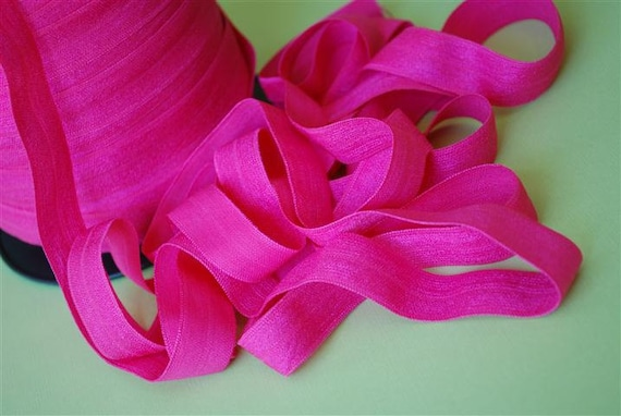 5/8 inch Fold Over Elastic - 5 Yards Fuchsia