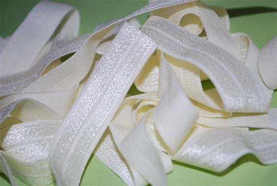 5/8 inch Fold Over Elastic - 5 Yards  Ivory