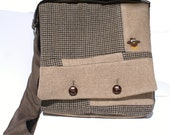 Tan Owl IPad Bag Messenger Bag, Padded IPad Bag, Shoulder Bag, Repurposed Wool IPad Bag