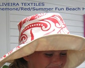 Summer Fun Beach Hat, Anemone redcoral, hemp/organic cotton, one size-roomy medium seems to fit most women