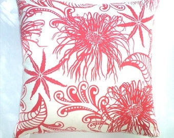 """Pillow - 20"""" Our best-selling Anemone pattern, red coral, 55/45 hemp/org cotton, knife-edge, invisible zipper closure"""