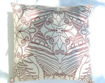 Pillow -  Shell Game, crimson, 100% hemp, invisible zipper closure