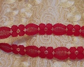 "3 Yards -  Red Flower 1/2 "" Inch Lace - Bright Red - RHS - Christmas Red - Valentine Red"