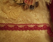 5 Yards - 1 Inch  Wide Burgundy  Floral Lace - Romantic Lingerie, Sewing, Quilts, Christmas, Home Decor