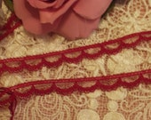 9 Yards - Petite Burgundy/Fuchsia  Doll Lace, Trim, Edging - Dolls, Baby, Mixed Media, Altered Couture,, Crazy Quilts