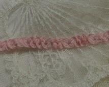 10 Yds - Delicate VintageShirring Pink Braid  Doll Lace Trim , Petite Edging, Dolls, Baby,  Ribbonwork, scrapbooking, Crazy Quilts,