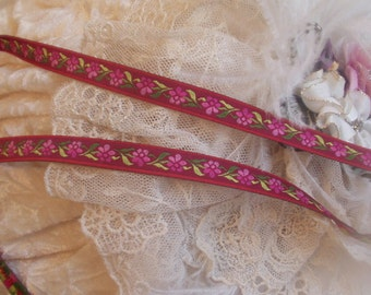 3 Yards Mauve Embroidered Jacquard Ribbon Trim,  Edging, vintage sewing, dolls, remake of 60's jeans