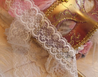2 Yards -Cream Double Picot Edged Lace, Trim, Edging - Mixed Media, Altered Couture,, Crazy Quilts