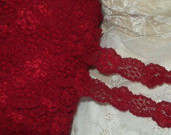 5 Yd - Stretch Lace - Gorgeous Deep Burgandy Red Stretch lace- Lingerie, Holiday Headbands, Weddings