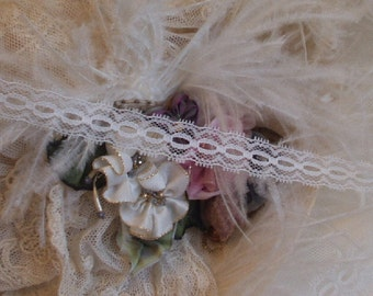 2 Yards - White Boudoir Lingerie Insertion Lace, Trim, Edging,1/2 Inches wide, Victorian,Home Decor, Shabby Chic