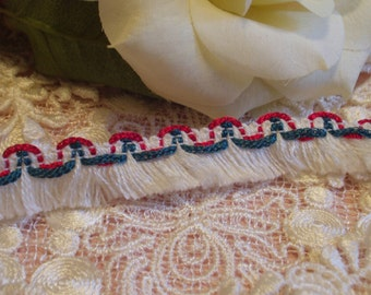 """Vintage White Fringe with Red & Green Trim - Christmas Trim - 3/4"""" wide -"""
