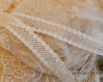2 Yds - Vintage Light Cream Insertion Trim, Edging - Dolls, Shabby Chic, Mixed Media, Lamp Shades, Crazy Quilts, Pillows