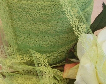 3 Yds - Chartreuse and Lime Green  Lace,  Trim, Edging, 3/4 inch wide,  Sewing,