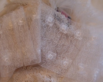 7 in. Wide - Soft Lace Embroidered White Floral &  Swirls Net Lace - Victorian, Lingerie, Wedding - By the Yard