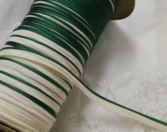 2 Yds - Vintage Petite Emerald Green Piping Trim, Edging - Dolls, Mixed Media, Lamp Shades, Crazy Quilts, Pillows