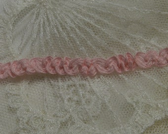 3 Yds - Delicate VintageShirring Pink Braid  Doll Lace Trim , Petite Edging, Dolls, Baby,  Ribbonwork, scrapbooking, Crazy Quilts,