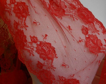 9 in. Wide - Beautiful Red Roses Chantilly Lace  - Lingerie, Scarf ,Boudoir,  Altered Couture - Wide Lace