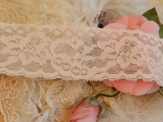 1 yd - Nude NonSlip Stretch Lace, Nonslip Ligerie, Stocking tops, 2 inches wide