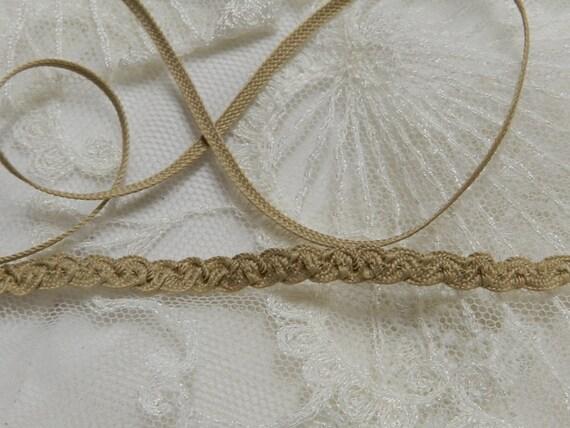 3 Yards - Delicate VintageShirring Tan Braid  Doll Lace Trim , Petite Edging, Dolls, Baby,  Ribbonwork, scrapbooking, Crazy Quilts,