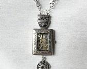 Gear Pendant Necklace (rectangle)