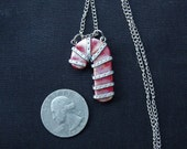 CUSTOM/RESERVED for Lara L. Steampunk'd Candy Cane Necklace RED