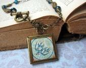 Birds in Blue Charm, Picture Frame  Necklace - Art Nouveau