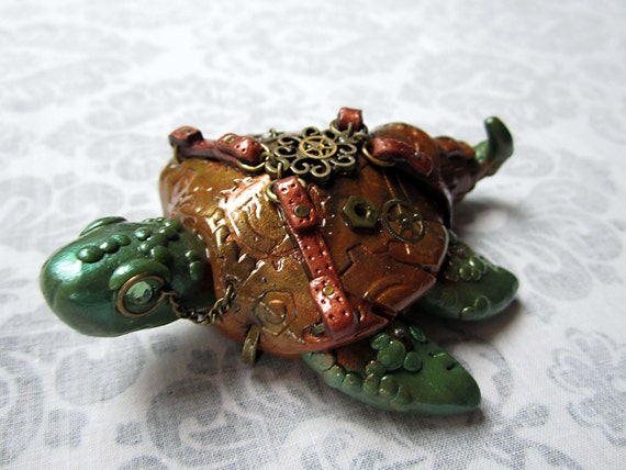 Steampunk Industrial Sea Turtle - Tan and Copper