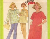 Vintage Sewing Pattern - 1977 Misses Maternity Jiffy Plus Dress or Top, Simplicity 8381 Size 16 Bust 38