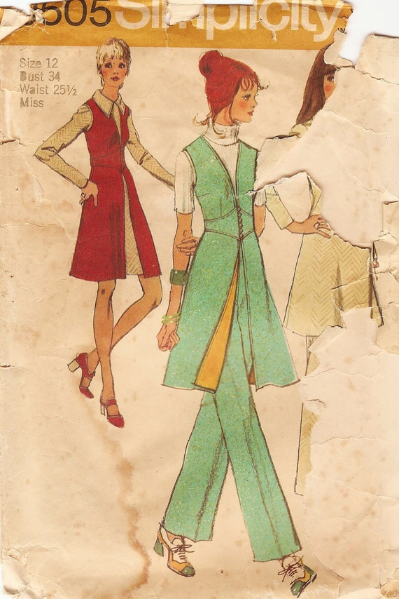 Vintage Sewing Pattern - 1971 Misses Vest, Pants, and Mini Dress, Simplicity 9505