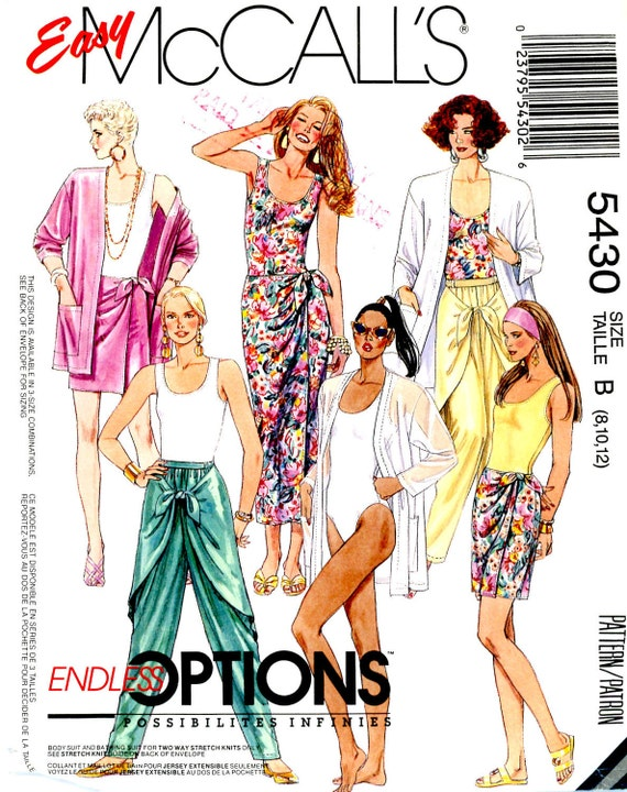 Vintage Sewing Pattern - 1991 Misses Jacket, Bodysuit or Swimsuit, Wrap Skirt, and Pants, McCall's 5430 Sizes 8, 10, 12