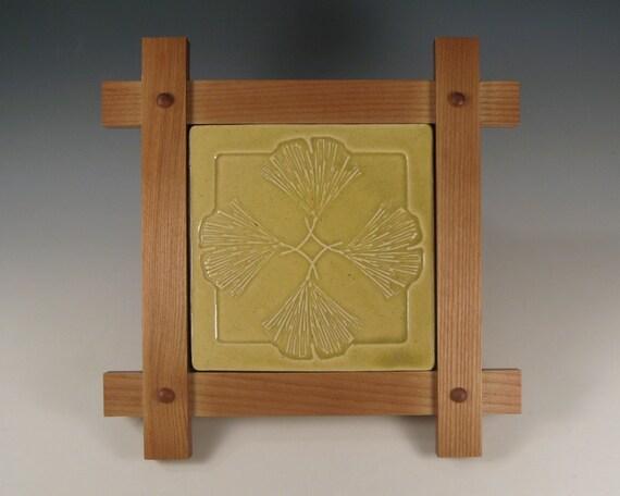 Ginkgo Leaf Design Tile In Mission Style Frame