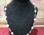 Peaches and Cream pink crystal and freshwater pearl necklace with charm