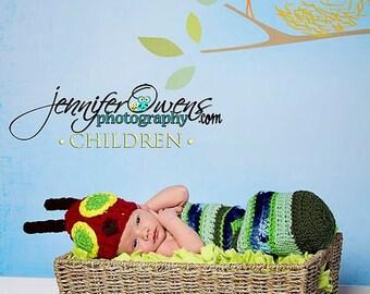 Crochet Caterpillar Newborn Photography Prop