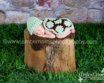 Baby Girl Hat, Baby Boy Hat, Crochet,  Newborn Hat, Turtle Hat, Turtle, Crochet Turtle, Photography Prop, Baby Gift