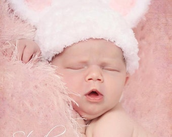 Crochet NEWBORN Fuzzy Bunny Hat Photography Prop