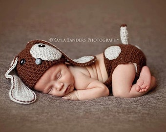 Baby Boy Hat, Baby Girl Hat, Baby Puppy Hat, Baby Beanie, Crochet, NEWBORN, Puppy Dog Hat, Puppy Hat, Dog Hat, Photography Prop, Baby Gift